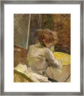 Waiting At Grenelle Framed Print by Henri de Toulouse-Lautrec