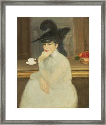 Waiting At The Bar Portrait Of Sarah Bernhardt, 1907 Oil On Canvas Framed Print by Georges Bottini