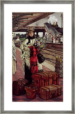 Waiting At The Station, Willesden Junction, C.1874 Framed Print by James Jacques Joseph Tissot