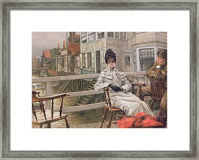 Waiting For The Ferry Framed Print by James Jacques Joseph Tissot