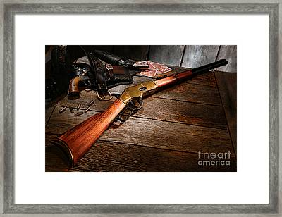 Waiting For The Gunfight Framed Print by Olivier Le Queinec