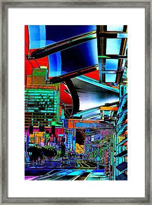 Waiting For The Metro Train Pop Art Framed Print by Phyllis Denton
