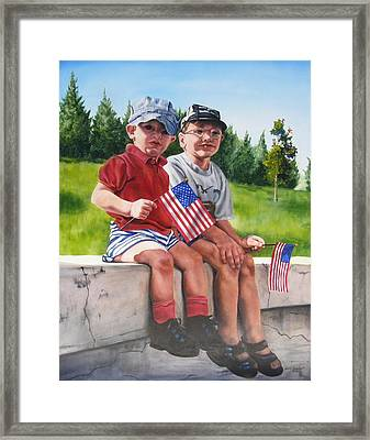 Waiting For The Parade Framed Print by Lori Brackett