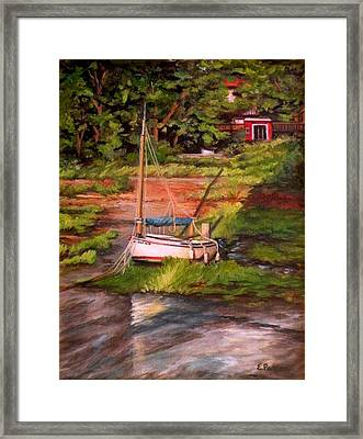 Waiting For The Tide Framed Print by Eileen Patten Oliver