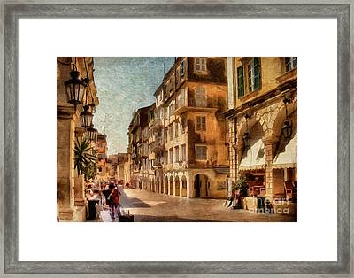 Waiting For The Tourists Painterly Framed Print by Lois Bryan