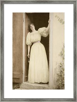 Waiting, From Lestampe Moderne Framed Print by Louis Joseph Raphael Collin