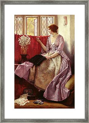 Waiting Framed Print by Sir James Dromgole Linton