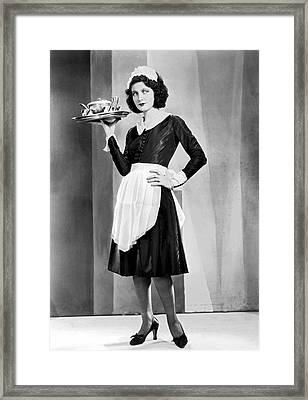 Waitress With Serving Tray Framed Print by Underwood Archives
