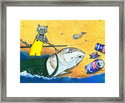 Wake Up Daddy The Tide Is Coming In Framed Print by Karen Rhodes