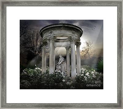 Wake Up My Sleepy White Roses - Sunlight Version Framed Print by Bedros Awak