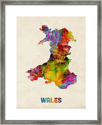 Wales Watercolor Map Framed Print by Michael Tompsett