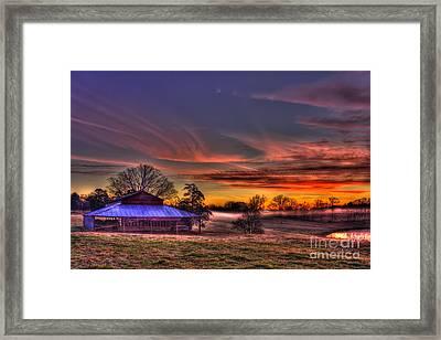 Misty Morning Sunrise Walker Church Road Framed Print by Reid Callaway
