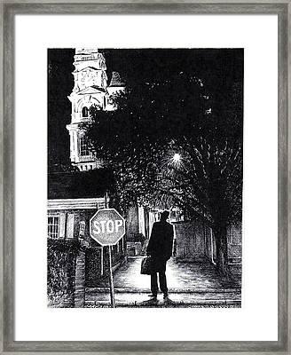 Walker In The City Framed Print by James Oliver