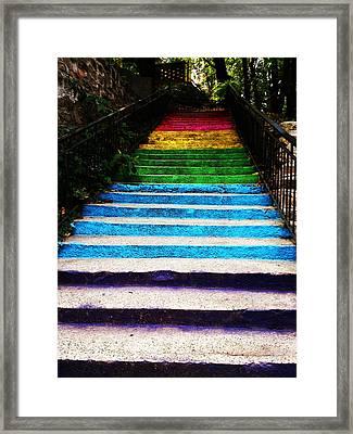 Walkin' On Rainbow Framed Print by Lucy D