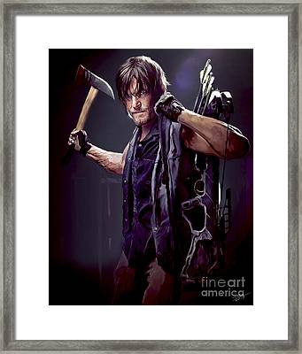 Walking Dead - Daryl Dixon Framed Print by Paul Tagliamonte