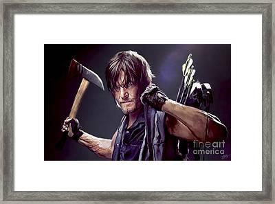 Walking Dead - Daryl Framed Print by Paul Tagliamonte