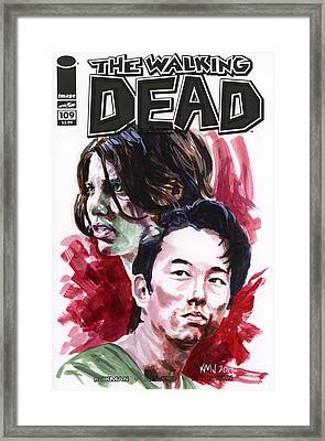 Walking Dead Glenn And Maggie Framed Print by Ken Meyer jr