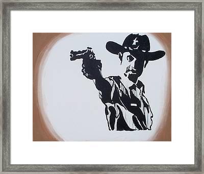 Walking Dead Rick Shoots Framed Print by Marisela Mungia