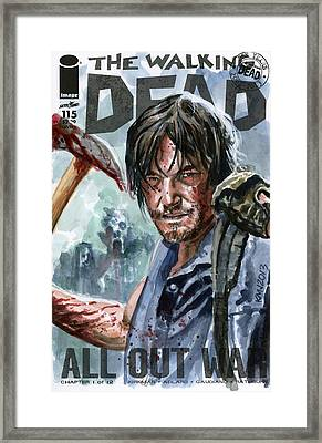 Walking Dead Sketch Cover Daryl Framed Print by Ken Meyer jr