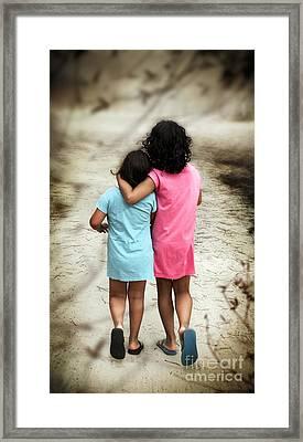 Walking Girls Framed Print by Carlos Caetano