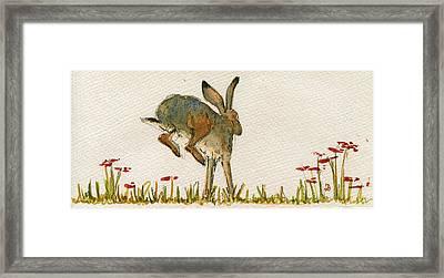 Walking Hare Framed Print by Juan  Bosco