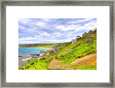 Walking Into Sennen Cove On The Cornish Coast Framed Print by Mark E Tisdale
