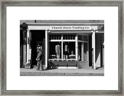 Walking Man - Great Barrington - Black And White Framed Print by Geoffrey Coelho
