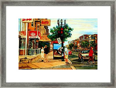 Walking Past Rialto And The Kit Kat Gift Shop Towards Pascals On Blvd. Park Avenue Montreal Scenes Framed Print by Carole Spandau