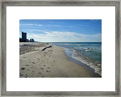 Walking The Beach Framed Print by Sandy Keeton