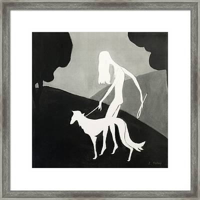 Walking The Dog Framed Print by Judy Tolley