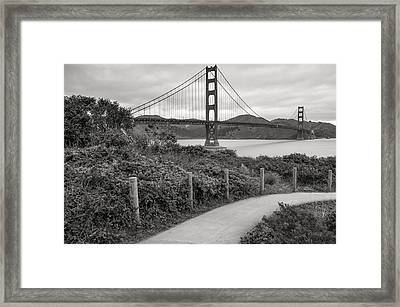 Walking To The Golden Gate Bridge - Black And White Framed Print by Gregory Ballos