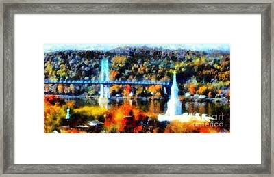 Walkway Over The Hudson Autumn Riverview Framed Print by Janine Riley
