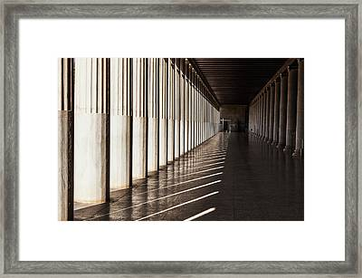 Walkway With Columns, Ancient Agora Framed Print by Reynold Mainse