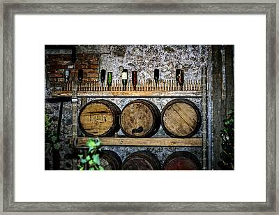 Wall Of Wine Framed Print by Sennie Pierson