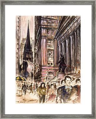 New York Wall Street - Fine Art Framed Print by Art America Online Gallery