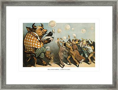 Wall Street Bubbles Always The Same Framed Print by Aged Pixel