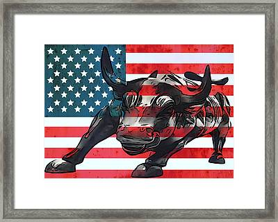 Wall Street Bull American Flag Framed Print by Dan Sproul