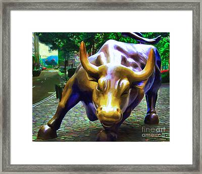 Wall Street Bull V2 Framed Print by Wingsdomain Art and Photography