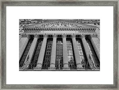 Wall Street New York Stock Exchange Nyse Bw Framed Print by Susan Candelario