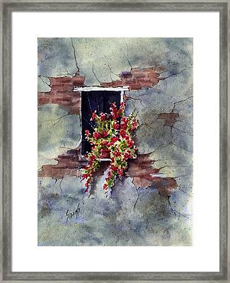 Wall With Red Flowers Framed Print by Sam Sidders