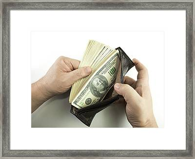 Wallet Containing 100 Us Dollar Banknotes Framed Print by Ktsdesign
