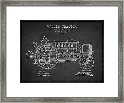 Wallis Tractor Patent Drawing From 1916 - Dark Framed Print by Aged Pixel