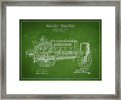 Wallis Tractor Patent Drawing From 1916 - Green Framed Print by Aged Pixel