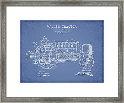 Wallis Tractor Patent Drawing From 1916 - Light Blue Framed Print by Aged Pixel