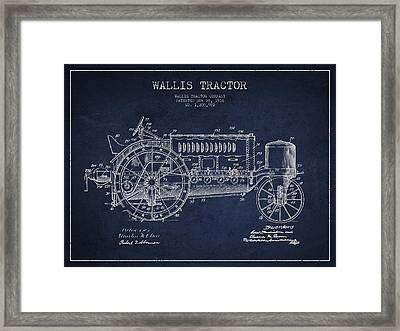 Wallis Tractor Patent Drawing From 1916 - Navy Blue Framed Print by Aged Pixel