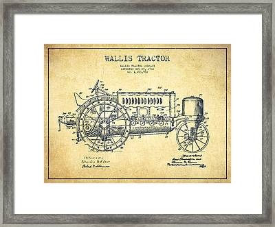 Wallis Tractor Patent Drawing From 1916 - Vintage Framed Print by Aged Pixel