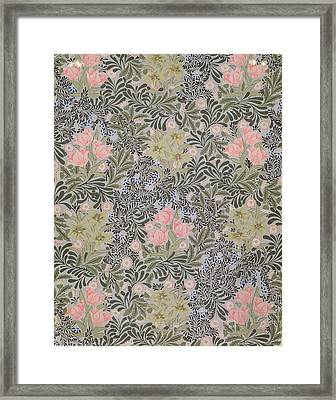 Wallpaper Design With Tulips Daisies And Honeysuckle  Framed Print by William Morris