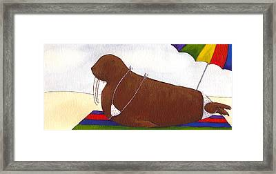 Walrus At The Beach Framed Print by Christy Beckwith
