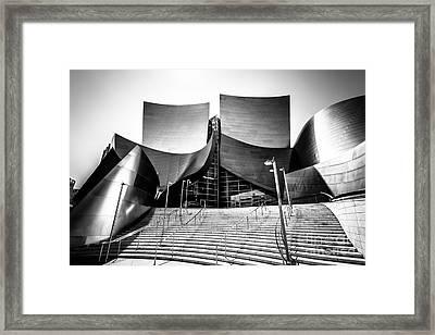Walt Disney Concert Hall In Black And White Framed Print by Paul Velgos