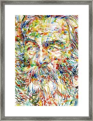 Walt Whitman Watercolor Portrait.1 Framed Print by Fabrizio Cassetta
